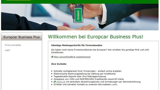 Europcar Business Plus, Screenshot, April 2012