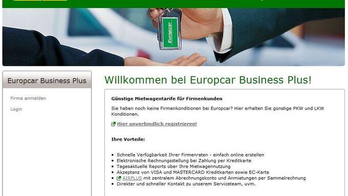 Europcar Business Plus, Screenshot, April 2012