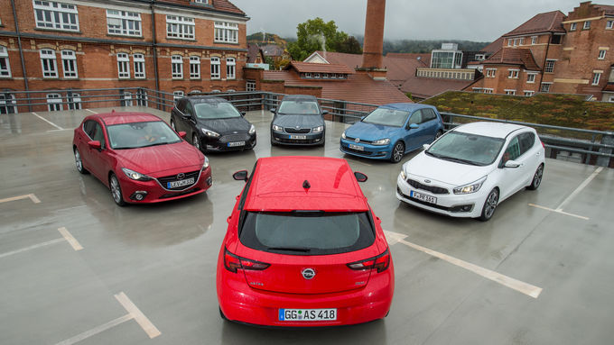 Ford Focus, Kia Cee'd, Mazda 3, Opel Astra, Skoda Octavia, VW Golf