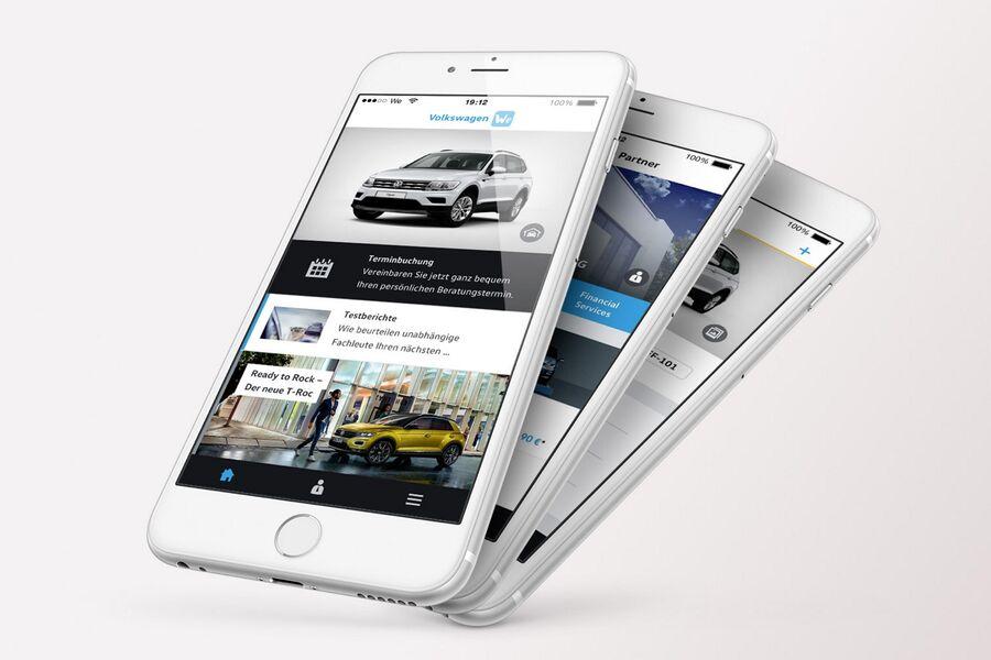 volkswagen we app vw bietet eine app f r viele services. Black Bedroom Furniture Sets. Home Design Ideas